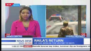 Anti-riot police clash with NASA supporters as they head to Mombasa Road to receive Raila Odinga