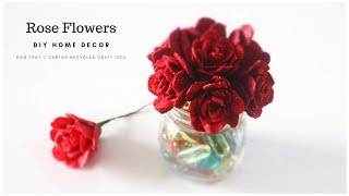 DIY Rose Flowers From Egg Carton   Egg Tray Craft   Recycled Crafts Ideas