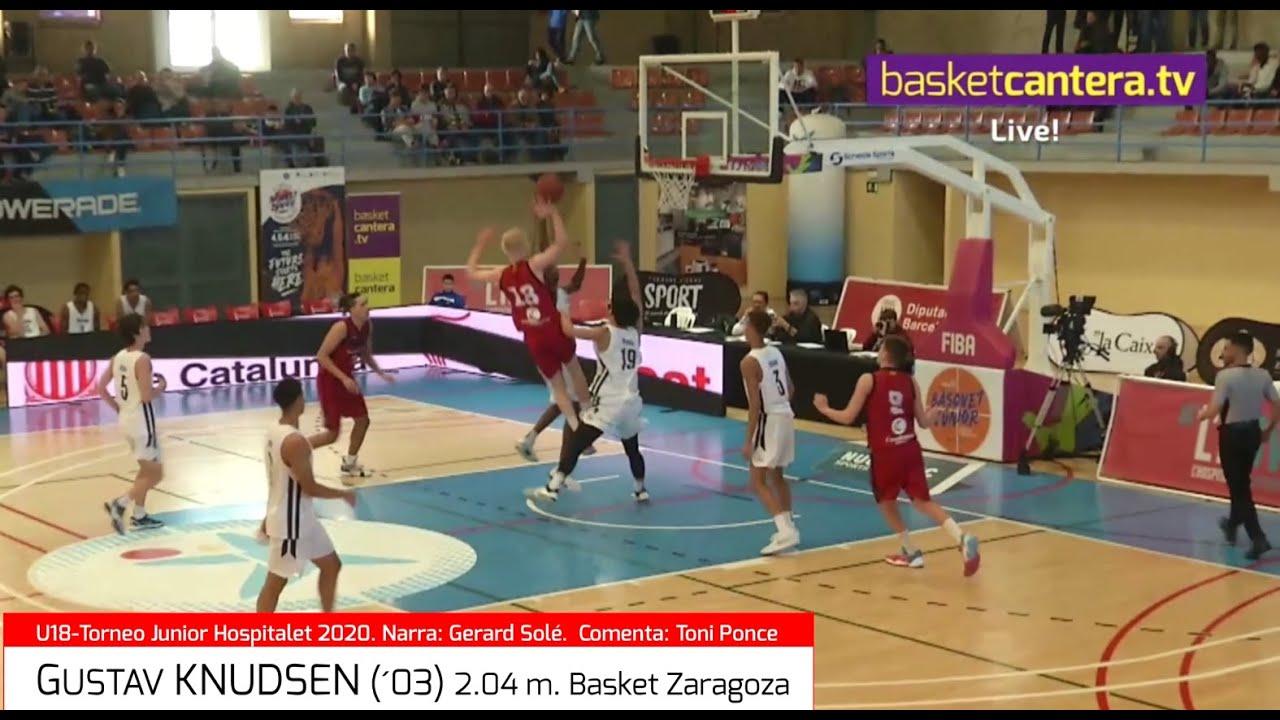 GUSTAV KNUDSEN (´03). Basket Zaragoza 2,04 m. Torneo Hospitalet 2020 (BasketCantera.TV)