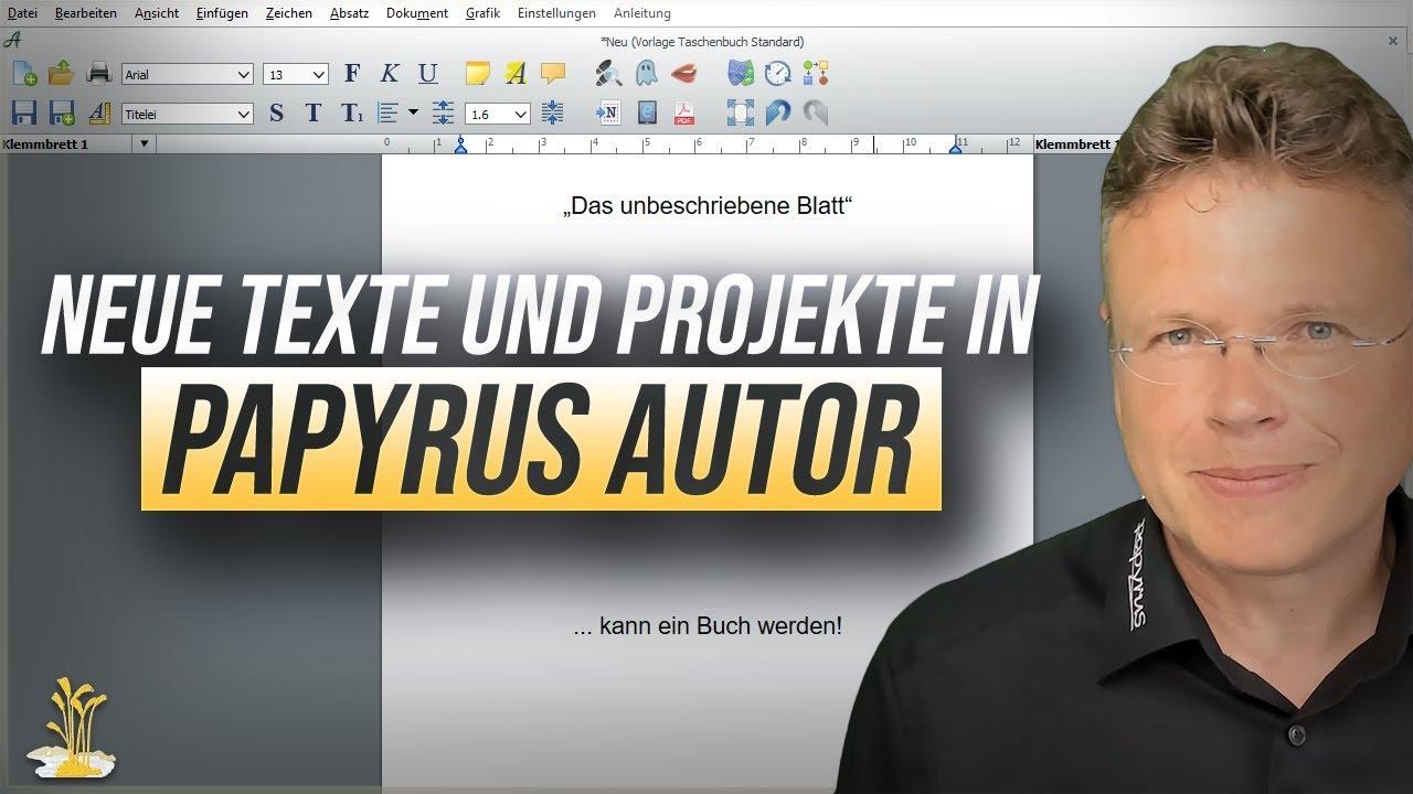 Neue Texte und Projekte in Papyrus Autor anlegen