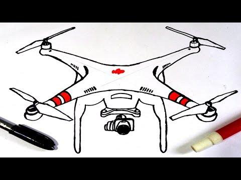 Como Desenhar um Drone DJI Phantom 3 !!! How to Draw a Drone