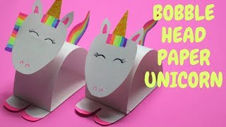 Bobble Head Paper Unicorn | Paper Crafts For Kids