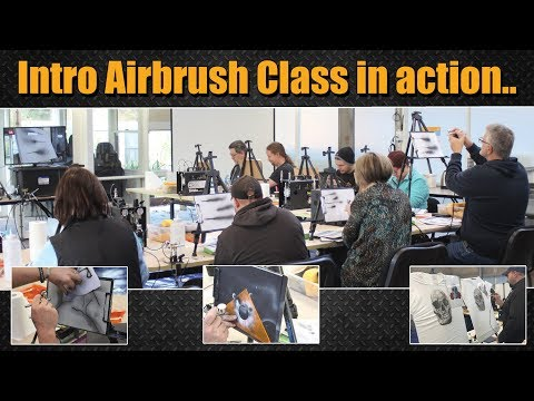 Learn to Airbrush, Introductory Airbrush Class in action.. - YouTube
