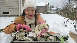 Ăn hàu oyster nướng đút lò chấm tương chua cay, Cuộc sống Mỹ.