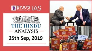 'The Hindu' Analysis for 25th September, 2019 (Current Affairs for UPSC/IAS)
