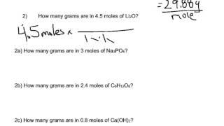Mole Calculation Worksheet Part 2