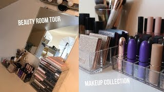 BEAUTY ROOM TOUR- MAKEUP COLLECTION, FILMING EQUIPMENT + STORAGE