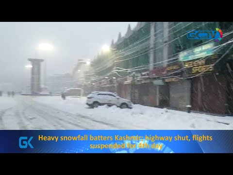 Heavy snowfall batters Kashmir; highway shut, flights suspended for 4th day