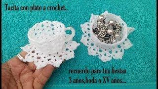 Tacita con plato a crochet