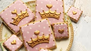 Pink and Gold Crown Cookies - Royal Baby Shower Collab
