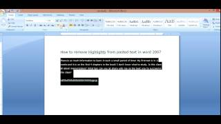 How to remove highlights from pasted text in Microsoft Word