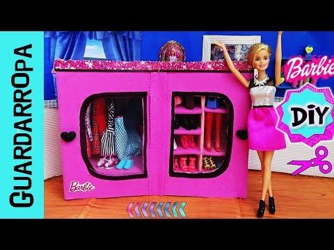 DIY ✄Como hacer GUARDARROPA | CLOSET para MUÑECAS Barbie | ROPERO | ARMARIO para Barbie Manualidad