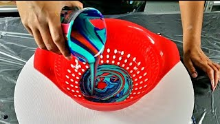 WOW ~ MUST SEE ~ Kaleidoscope Colander Pour ~  Fluid Pour Painting / Acrylic Pouring ~ Creative Art