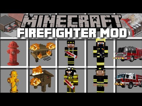 Minecraft FIRE BRIGADE MOD / BECOME A FIREFIGHTER AND CONTROL A FIRE STATION!! Minecraft