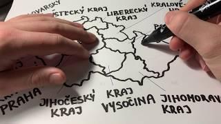 CZ ASMR šeptání, kreslení mapy / Drawing Map of Czech