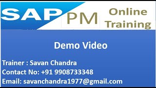 SAP PM online training | SAP Plant Maintenance Training | for training contact at +91 9908733348