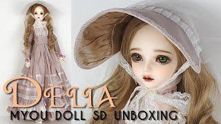 [JPN/ENG CC] BJD MYOU Doll 1/3 SD Delia Unboxing 球体関節人形 開封 着せ替え엠유돌 딜리아 구체관절인형 개봉후기 언박싱 (4K)