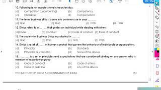 #FUNDAMENTALS OF ETHICS   MCQ + TRUE/FALSE + MATCHING   COMPLETE PRACTICE   CA CMA RAVI KUMAR