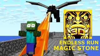 Monster School: ENDLESS RUN MAGIC STONE CHALLENGE - Minecraft  Animation