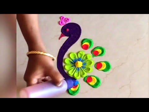 beautiful peacock rangoli by fun with rangoli