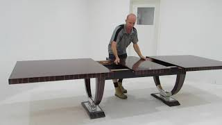 Beautiful Ebony And Stainless Steel Art Deco Dining Table