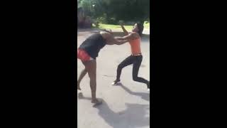 Two girls fighting in the HOOD, one end up with bloody mouth