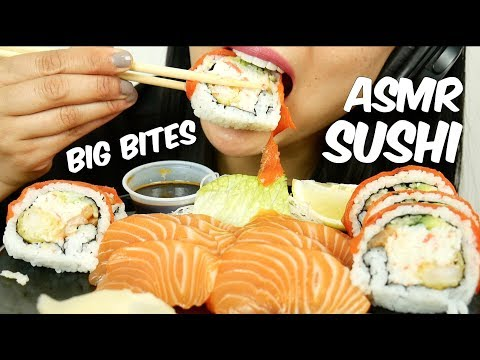 Asmr Sashimi Sushi Roll Eating Sounds Big Bites No Talking Sas Asmr