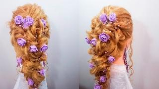 прическа вечерняя свадебная на длинные волосы локоны и косичка быстрые прическа Hairsryles