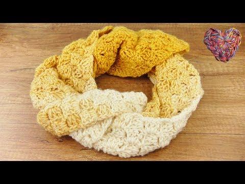 Muster Schal mit tollem Farbverlauf | C2C Herbstschal DIY in Gelb | einfache Anleitung für Anfänger