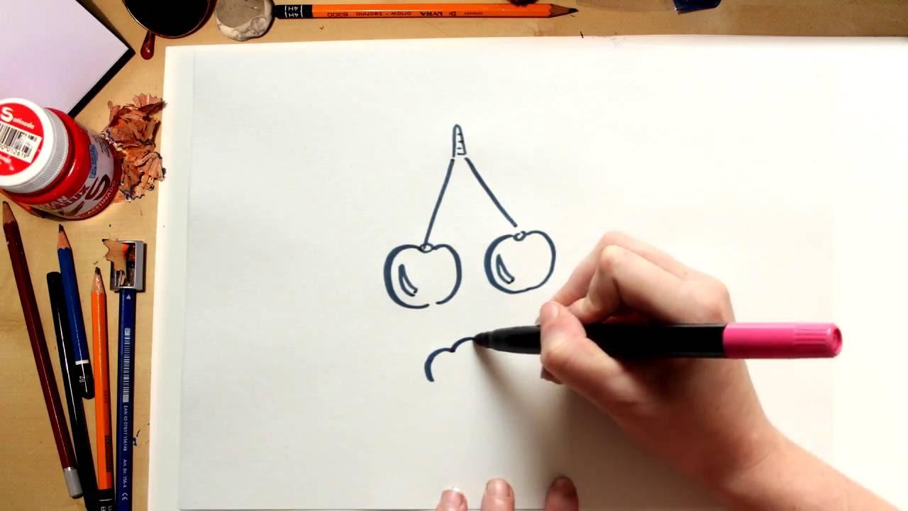 Como dibujar Cerezas - dibujos de frutas para niños