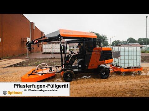 Optimas Pflasterfugen-Füllgerät für den Anbau an Pflasterverlegemaschine