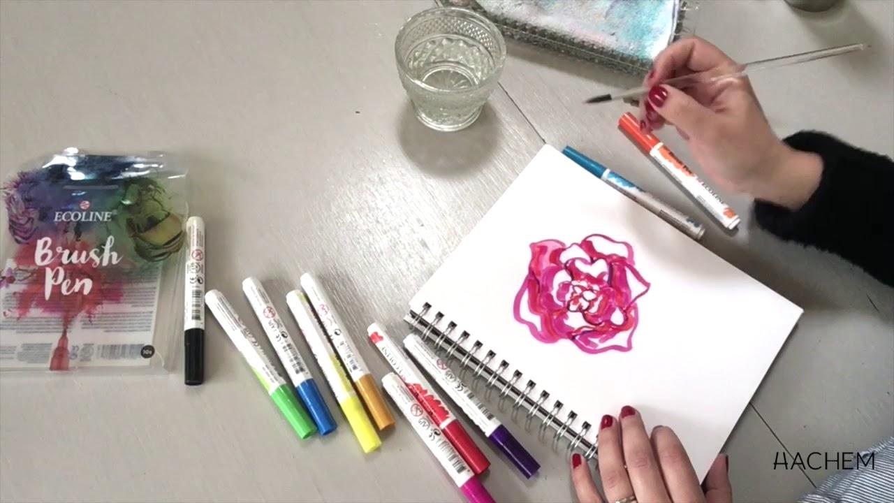 Fleur D Ete Aquarelle Facile Avec Les Brush Pen Ecoline Hachem