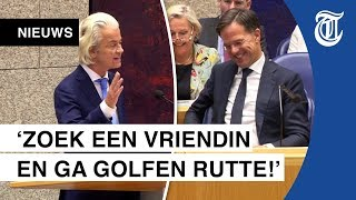 Rutte lacht om harde aanval Wilders