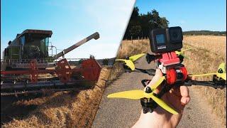 Dji FPV Renndrohne + GoPro Hero8 Black zum Filmen nutzen? TEST Mähdrescher-Action / Drohne 4K 60 FPS