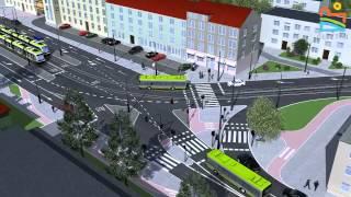 preview picture of video 'Wizualizacja linii tramwajowej w Olsztynie'
