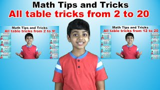 Learn 2 to 20 Times Multiplication Tricks for kids || Easy and fast way to learn || Table tricks