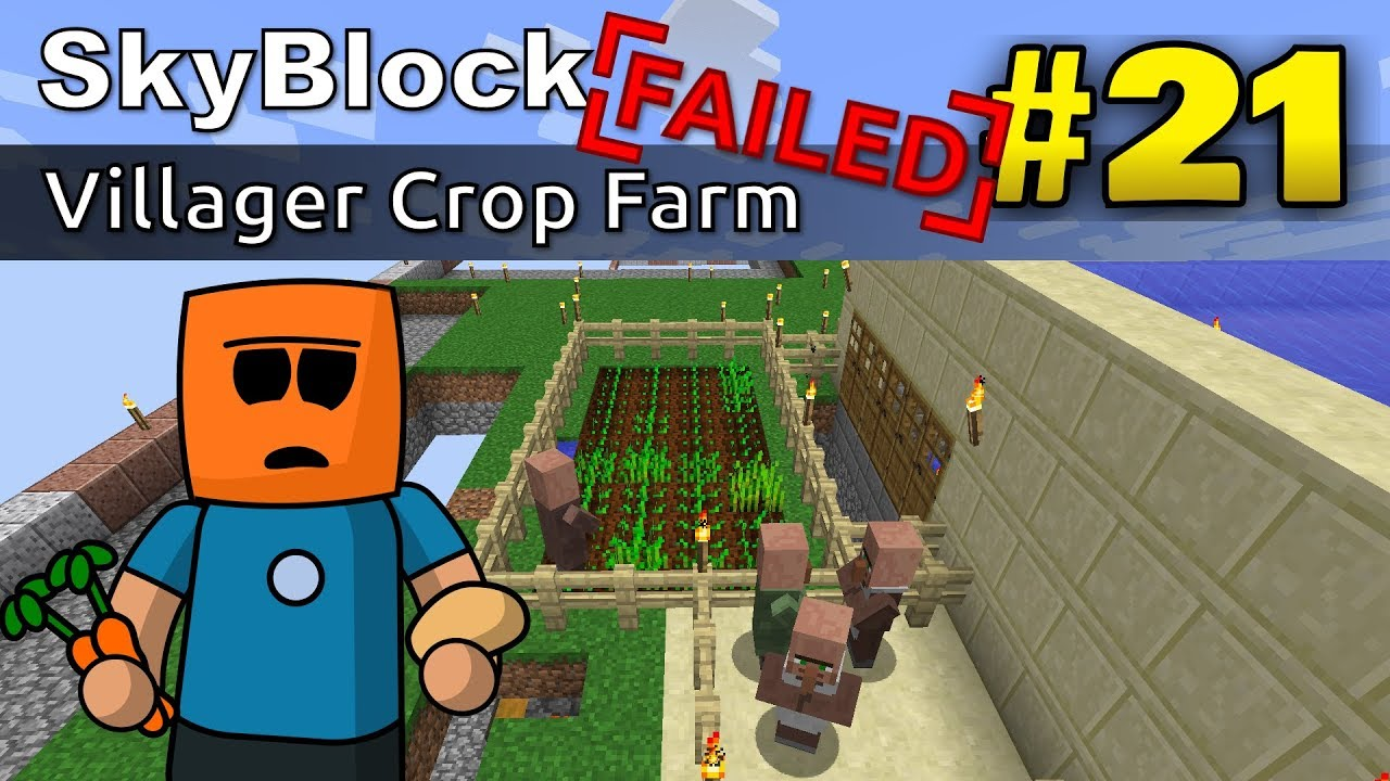 Minecraft SkyBlock ep21 | Failed Villager Crop Farm
