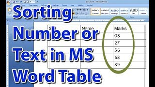 Sorting Number or Text in MS Word Table by Ascending and Descending