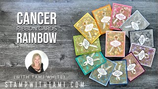 🔴 How to Make a Rainbow of Cancer Ribbon Cards with Stampin' Up Materials