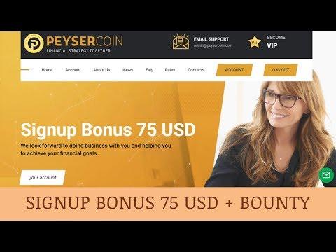 Peysercoin Limited отзывы 2019, обзор, investment services, Signup Bonus 75 USD + BOUNTY