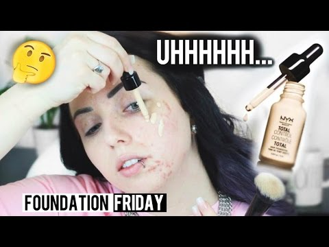 NEW NYX TOTAL CONTROL DROP FOUNDATION Acne/Pale Skin {First Impression Review & Demo!}