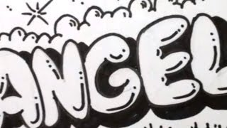 How to Draw Bubble Letters - Angela in Graffiti Letters
