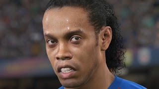pes 2017 gameplay  trailer legends ronaldinho rivaldo luis henrique puyol larsson
