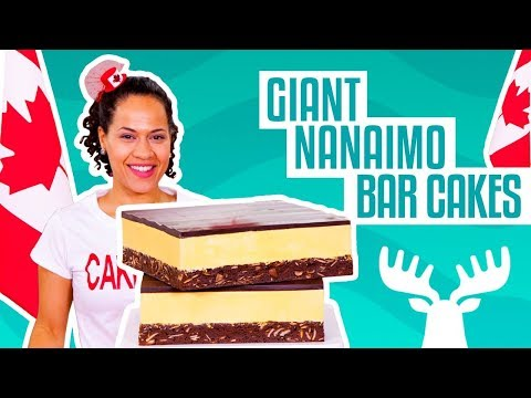 How To Make Giant Nanaimo Bars out of CAKE for Canada 150 | Yolanda Gampp | How To Cake It