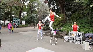 Lovely Street Unicyclist Juggling at Ueno Park Central Tokyo Japan