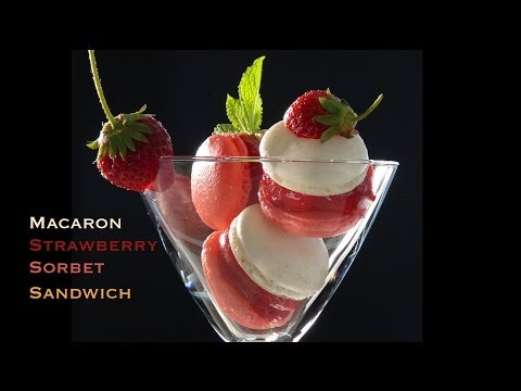 Macaron Strawberry Sorbet Sandwich - Bruno Albouze - THE REAL DEAL