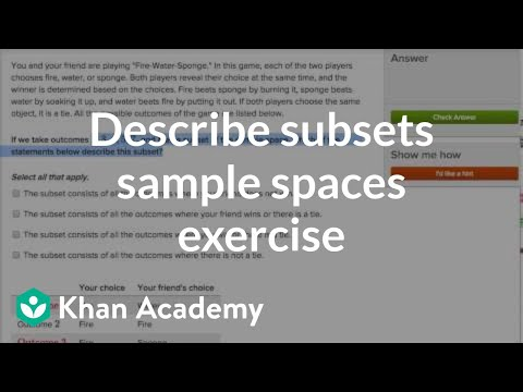 Subsets of sample spaces (video) | Khan Academy