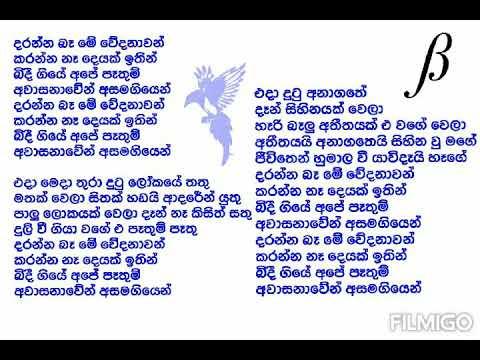 Daranna Ba Me Wedanawan Karaoke Version Sinhala Song Lyrics  (without vocals )