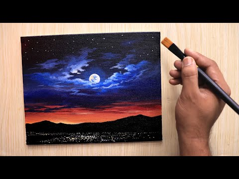 acrylic painting of romantic moonlight sky tutorial