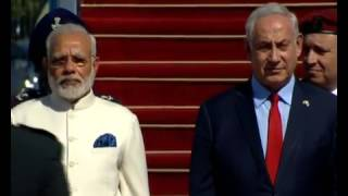 PM Modi arrives to a warm welcome in Jerusalem, Israel,National anthem(pls Subscribe)